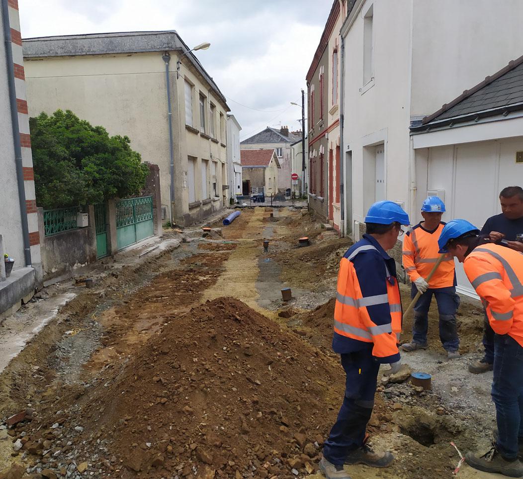 Juin 2020: Début des travaux d'aménagement du centre-ville de La Montagne (44)